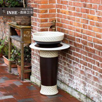 Pillar lavabo simple small family column basin ceramic art basin bathroom toilet commode balcony pool