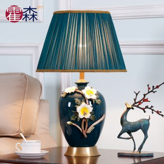 All copper colored enamel lamp American bedroom berth lamp of new Chinese style European sitting room warm and creative ceramic marriage room