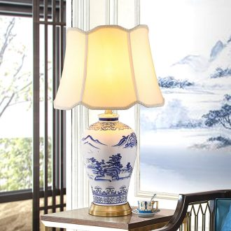 New Chinese style ceramic desk lamp after classical study contracted and contemporary sitting room full copper landscape lamp of bedroom the head of a bed of blue and white porcelain