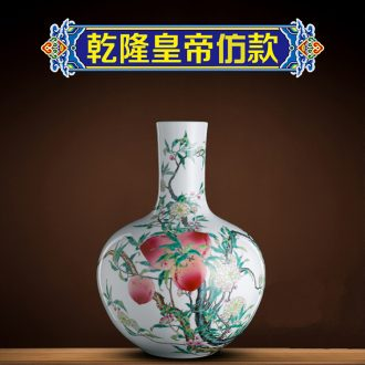 Better sealed kiln jingdezhen ceramic antique nine big vase pastel peach tree furnishing articles rich ancient frame decoration high model