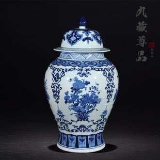 Blue and white porcelain of jingdezhen ceramics general antique hand-painted jar with cover storage tank sitting room decoration crafts
