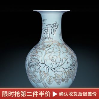 Jingdezhen ceramics vase shadow blue colour of the reward bottle blooming flowers sitting room of Chinese style household TV ark furnishing articles