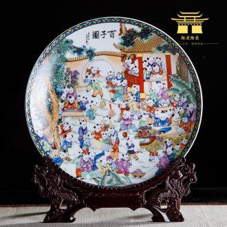 Jingdezhen ceramics ten inches of the ancient philosophers figure handicraft rich ancient frame bedroom decorate dish hang dish by dish household furnishing articles