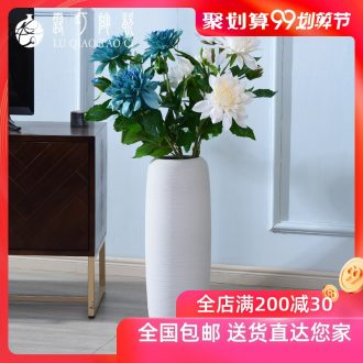 Contemporary and contracted ceramic white vase landing simulation suit furnishing articles dried flower arranging flowers large north European style living room