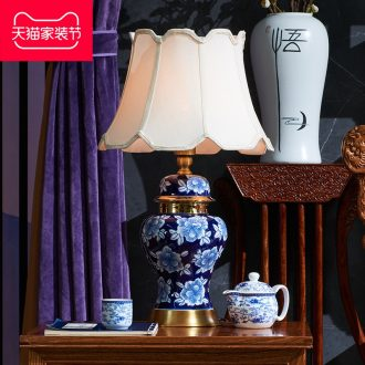 Chinese style full copper ceramic sitting room bedroom decoration lamp Europe type restoring ancient ways study Angle of several domestic large desk lamp of the head of a bed