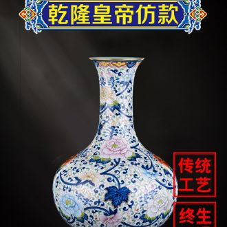 Ning hand-painted antique vase seal kiln jingdezhen ceramic bottle furnishing articles sitting room new Chinese rich ancient frame of blue and white porcelain porcelain
