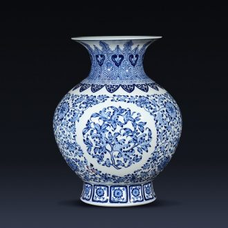 Jingdezhen ceramics imitation qianlong blue and white porcelain vases, flower arrangement of the sitting room porch decoration of new Chinese style furnishing articles