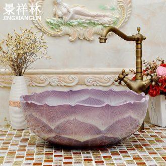 Ceramic lavabo stage basin of continental basin purple lotus petals art sink bathroom sinks