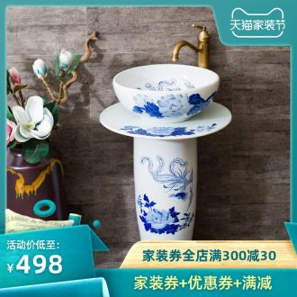 Basin of jingdezhen pillar lavabo toilet column basin of the basin that wash a face basin to the pool that wash a face blue and white porcelain ceramic art