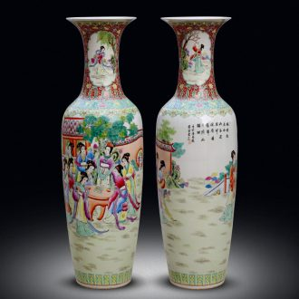 Jingdezhen ceramics of large vases, hand-painted pastel jinling twelve women of Chinese big sitting room adornment furnishing articles