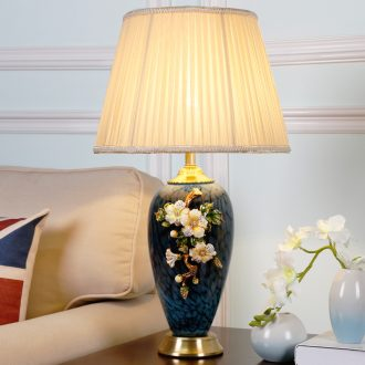 Full copper colored enamel lamp American bedroom berth lamp decoration ceramics warm continental new Chinese style large living room