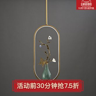 New Chinese style droplight copper flower on sitting room bedroom study all ceramic vase zen Chinese style lamps and lanterns of creative personality