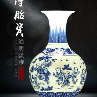 Blue and white porcelain of jingdezhen ceramics thin body blue and white porcelain vase decoration vase vase household porcelain decorations in the living room