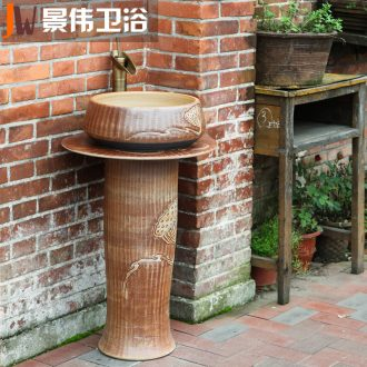 JingWei column basin sink pillar type lavatory ceramic basin basin of wash one balcony column outdoor