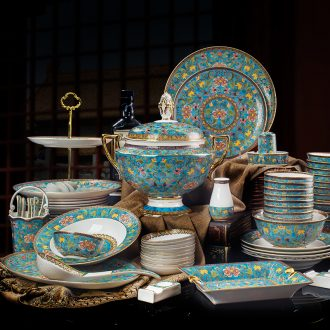 Jingdezhen wire inlay enamel colour Europe type palace tableware suit bone bowls disc high-end wedding gifts home