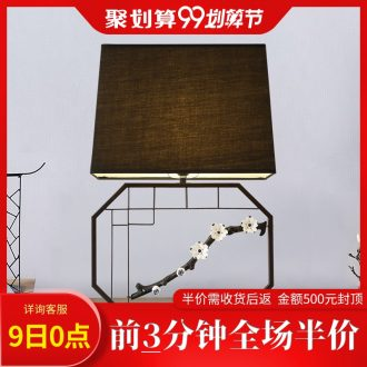 Kc new Chinese pottery and porcelain flowers, wrought iron atmospheric sitting room desk lamp, contracted Chinese wind cloth art lamp of bedroom the head of a bed