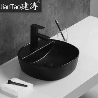 Basin of northern Europe on the ceramic lavabo rectangular black contracted household bathroom European art basin