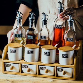Nordic household condiment boxed set clear glass combination of luxury kitchen household ceramics seasoning sauce pot a pot