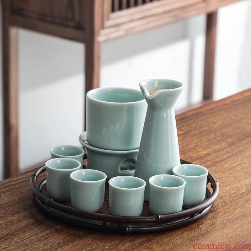 Bo yao ancient celadon wine temperature ceramic wine liquor fierce little yellow rice wine glass decanters household hot hip suits
