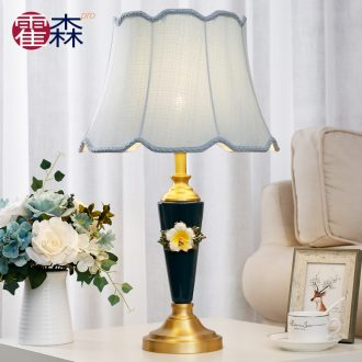 Girls bedroom lamp American simple modern ceramic bedside lamp new pure copper continental warm sitting room lamps and lanterns