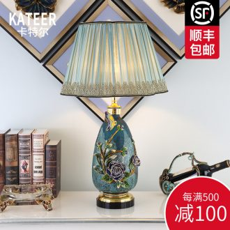 Cartel luxury colored enamel porcelain lamp type crystal creative villa living room lamp of bedroom the head of a bed