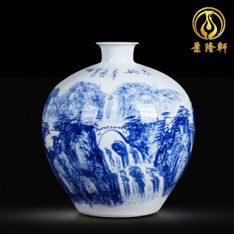 Jingdezhen blue and white ceramics hand-painted vases, flower arrangement sitting room of Chinese style household wine cabinet office furnishing articles ornament