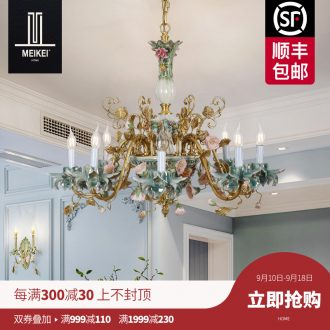 French chandelier european-style luxury living room bedroom villa garden restaurant creative full copper ceramic pendant lamps and lanterns