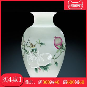 Jingdezhen ceramic vase famous hand-painted Chinese pomegranate thin foetus and exquisite furnishing articles home sitting room adornment flower arrangement