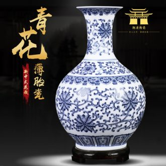 Jingdezhen ceramic dumb light blue and white porcelain vase living room rich ancient frame furnishing articles flower arranging small porcelain decoration