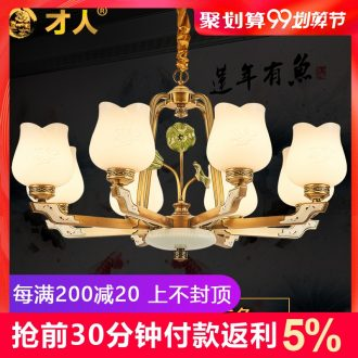 New Chinese style full copper chandelier contracted ceramic lamp lotus sitting room dining-room lamp Chinese wind small pure and fresh and new bedroom light