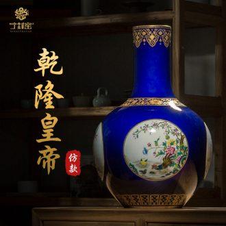 Better sealed kiln jingdezhen ceramics vase ji LAN paint Chinese antique hand-painted process rich ancient frame place adorn article