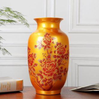 Jingdezhen ceramics vase big red crystal glaze vase furnishing articles furnishing articles blooming flowers festival gifts