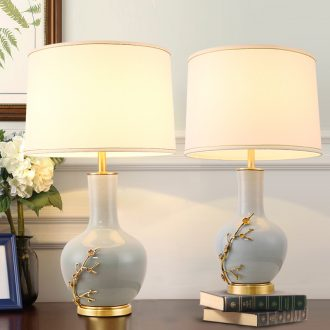 New jingdezhen ceramic desk lamp Chinese sweet bedroom berth lamp American retro sitting room adornment all copper lamps and lanterns