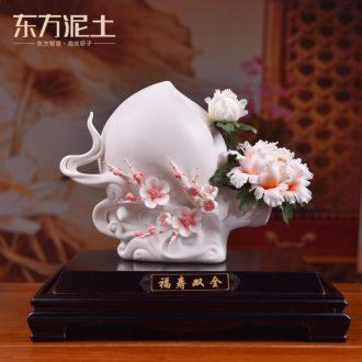 Oriental clay ceramic flower art sculpture handicraft birthday present for elder/live long and proper D51-12