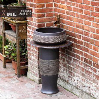Ceramic pillar lavabo outdoor balcony household bathroom floor integrated bathroom art face basin of columella