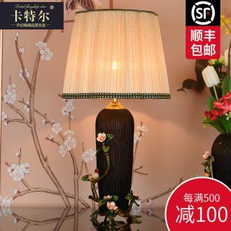 Europe type colored enamel lamp bedroom berth lamp study American vintage French romantic villa decoration ceramic lamp