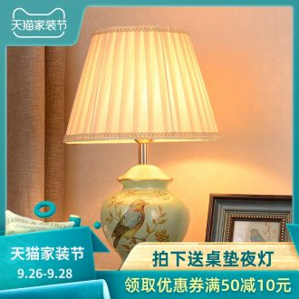 Ceramic lamp American pastoral European study of new Chinese style restoring ancient ways the sitting room the bedroom cloth art berth lamp warm warm light