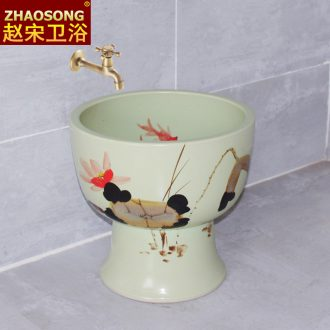 Scandinavian modernism of song dynasty porcelain Siamese mop mop pool round mop pool large toilet basin the balcony
