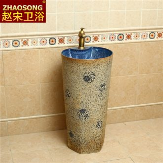 After archaize one-piece pillar ceramic lavabo washbasin courtyard outdoor floor hotel toilet basin balcony