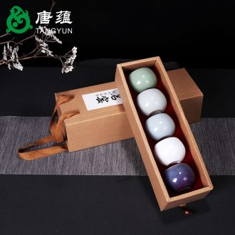 Tang aggregates five kiln ceramic cups masters cup suit puer tea cup kunfu tea bowl of whole box five gifts