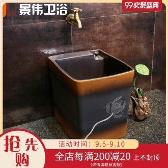 JingWei vintage wash mop pool large ceramic art mop pool outdoor balcony outdoor garden mop floor mop basin