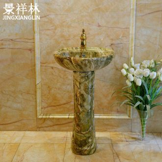Imitation marble basin vertical basin one floor made art pillar lavabo ceramic continental basin