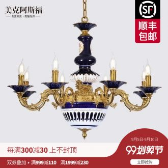 French romance all copper ceramic chandeliers villa luxury european-style palace sitting room dining-room retro droplight of creative personality