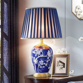Jingdezhen blue and white porcelain ceramic desk lamp light blue of bedroom the head of a bed new classical Chinese style living room American club hotel