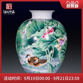 Jingdezhen ceramics hand-painted pastel yuanyang ground flower arranging large vases, new Chinese style decorates sitting room household furnishing articles
