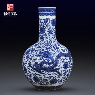 Jingdezhen ceramics antique blue-and-white celestial large vases, new Chinese style living room TV ark home furnishing articles