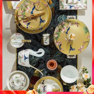 Fire color jingdezhen ceramic tableware suit household luxury dishes combine European ceramic dishes suit