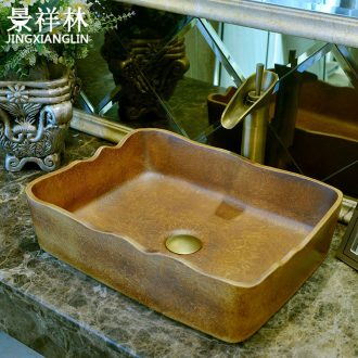 Creative vintage wavy edge square art ceramic lavabo toilet stage basin basin sink basin