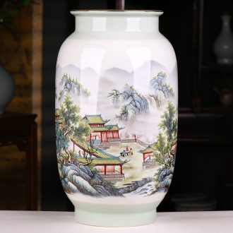 Jingdezhen ceramics landscape painting enamel vase Chinese style home porch decoration handicraft furnishing articles large living room