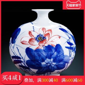 Famous master of jingdezhen ceramics hand-painted blue and white porcelain vases, flower arranging new sitting room of Chinese style household decorations furnishing articles